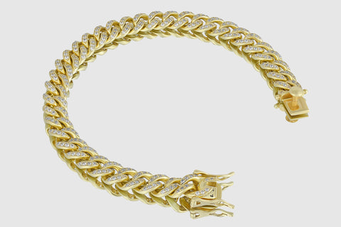 9mm Diamond Miami Cuban Gold Bracelet