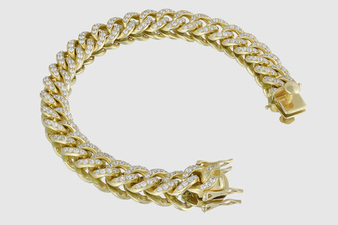 11mm Diamond Miami Cuban Gold Bracelet
