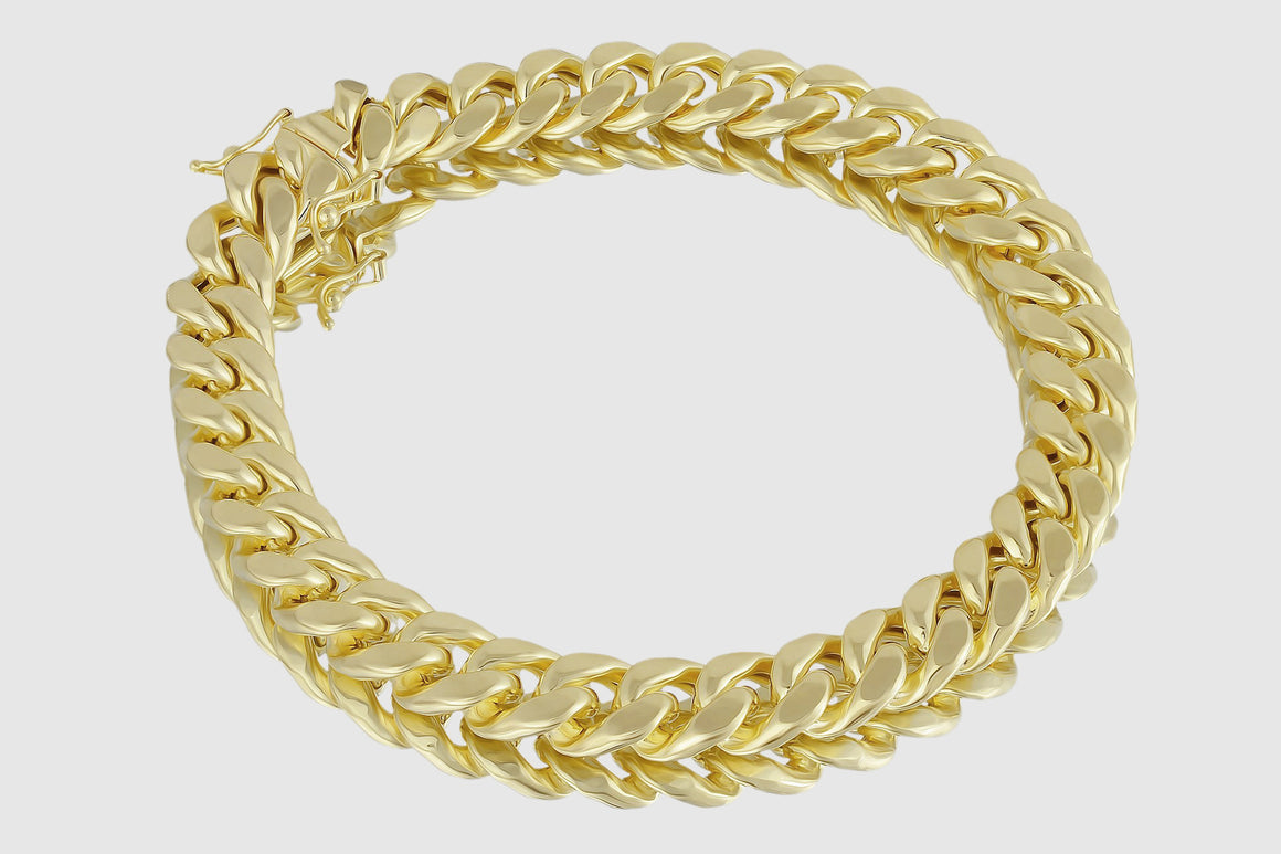 10mm Miami Cuban Bracelet 14K Yellow Gold