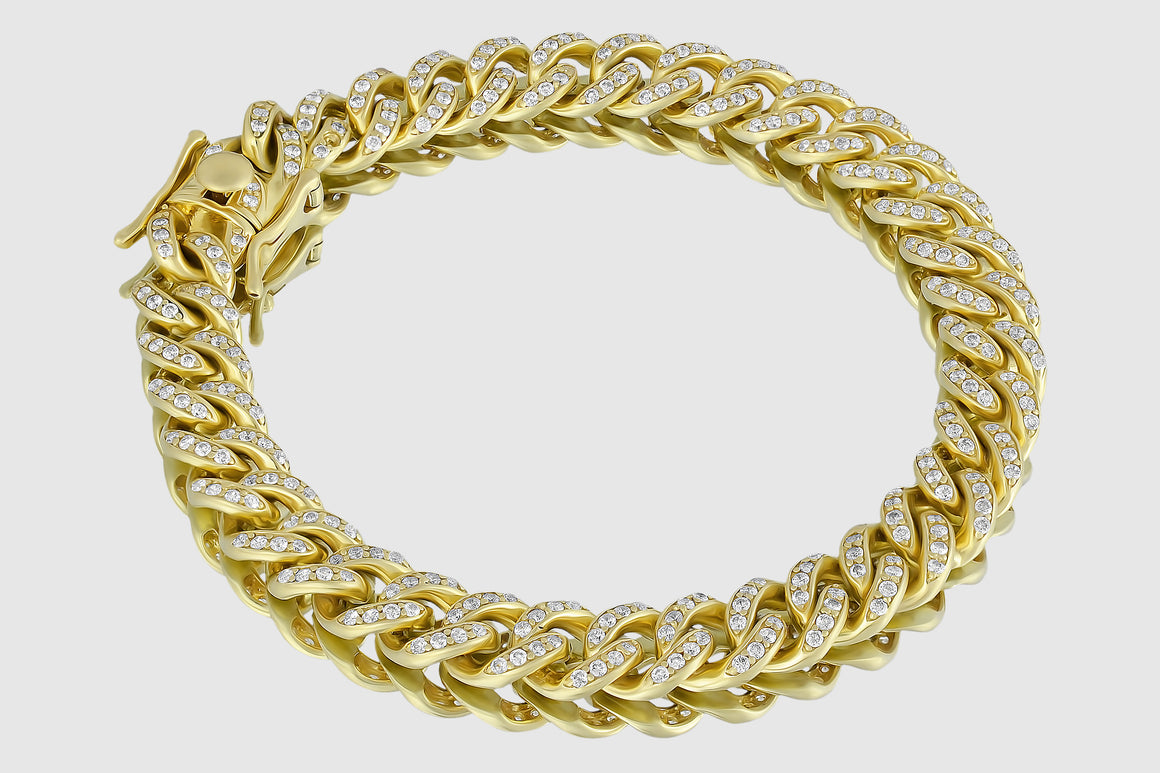 9mm Diamond Miami Cuban Bracelet 14K Yellow Gold