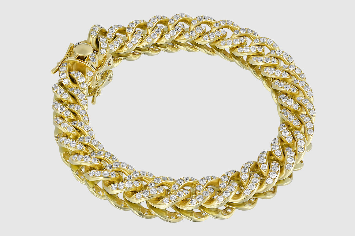 11mm Diamond Miami Cuban Bracelet 14K Yellow Gold