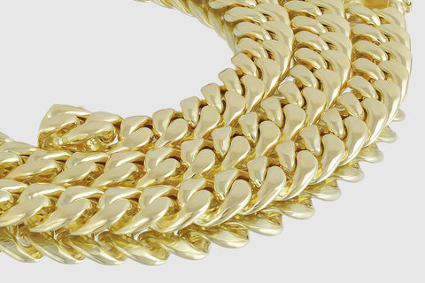 12mm 14K Miami Cuban Link Semi-Solid Yellow Gold Necklace