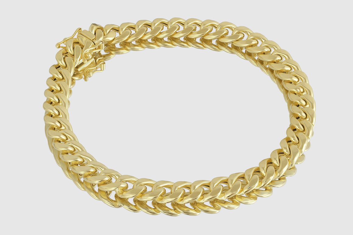 8mm Miami Cuban Bracelet 14K Yellow Gold