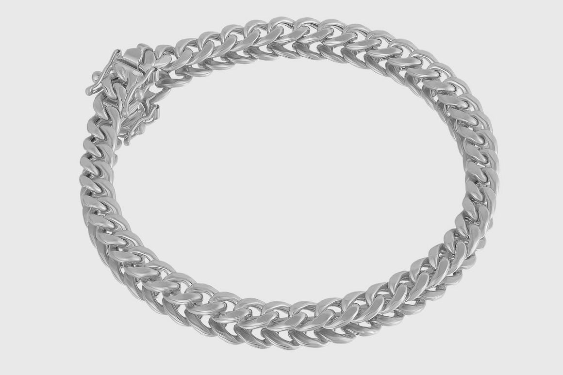 6mm 10K Miami Cuban White Gold Bracelet