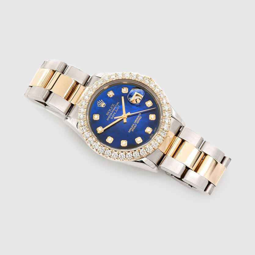 Diamond Rolex DateJust 36mm Two-Tone Blue Dial Watch