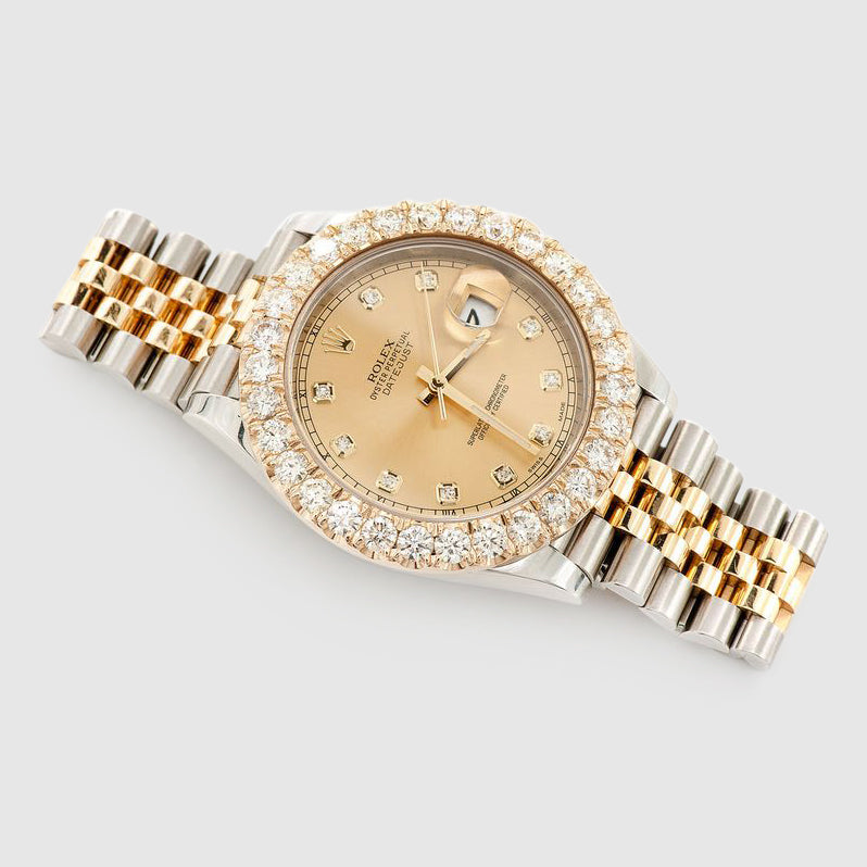 Diamond Rolex DateJust 41mm Two-Tone Gold Dial Watch
