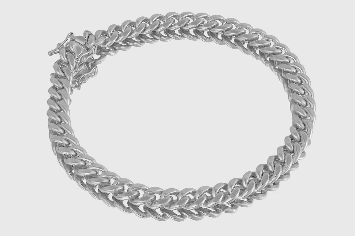 7mm 10K Miami Cuban White Gold Bracelet