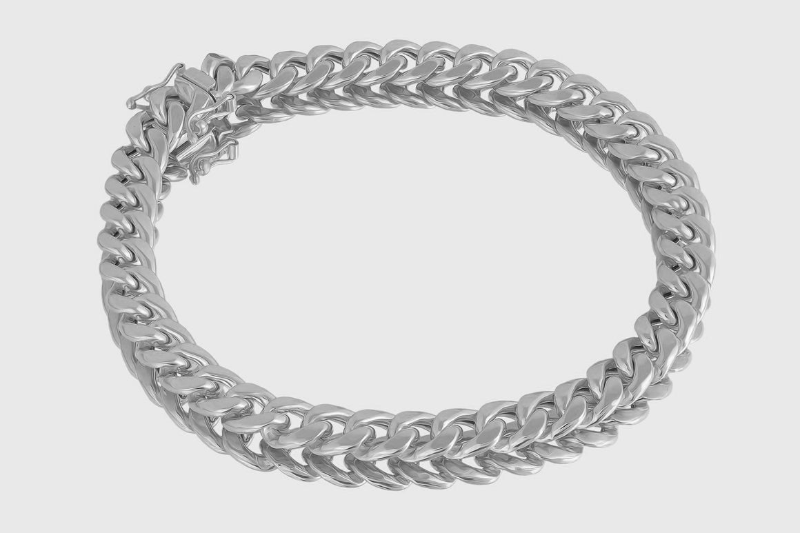 8mm 10K Miami Cuban White Gold Bracelet