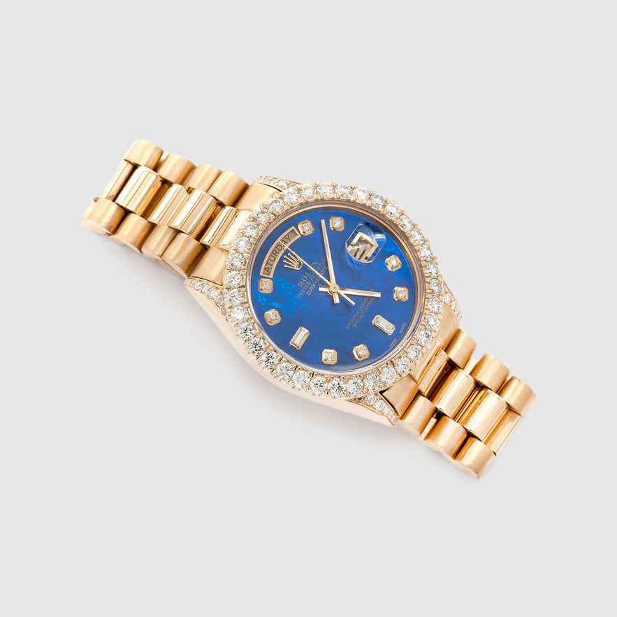 Diamond Rolex Presidential DayDate 36mm 18k Yellow Gold Blue Dial Watch