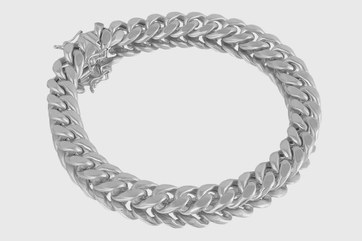 9mm 10K Miami Cuban White Gold Bracelet
