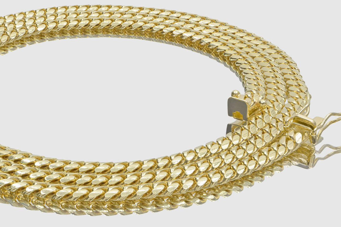 4mm Miami Cuban 10k Solid Yellow Gold Necklace