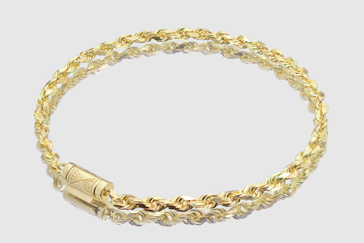 4mm 10k Solid Yellow Gold Rope Bracelet
