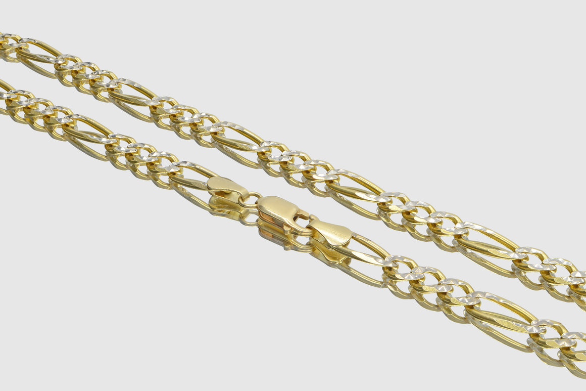 14k White Pave Two-Tone Figaro Link Solid Yellow Gold Necklace
