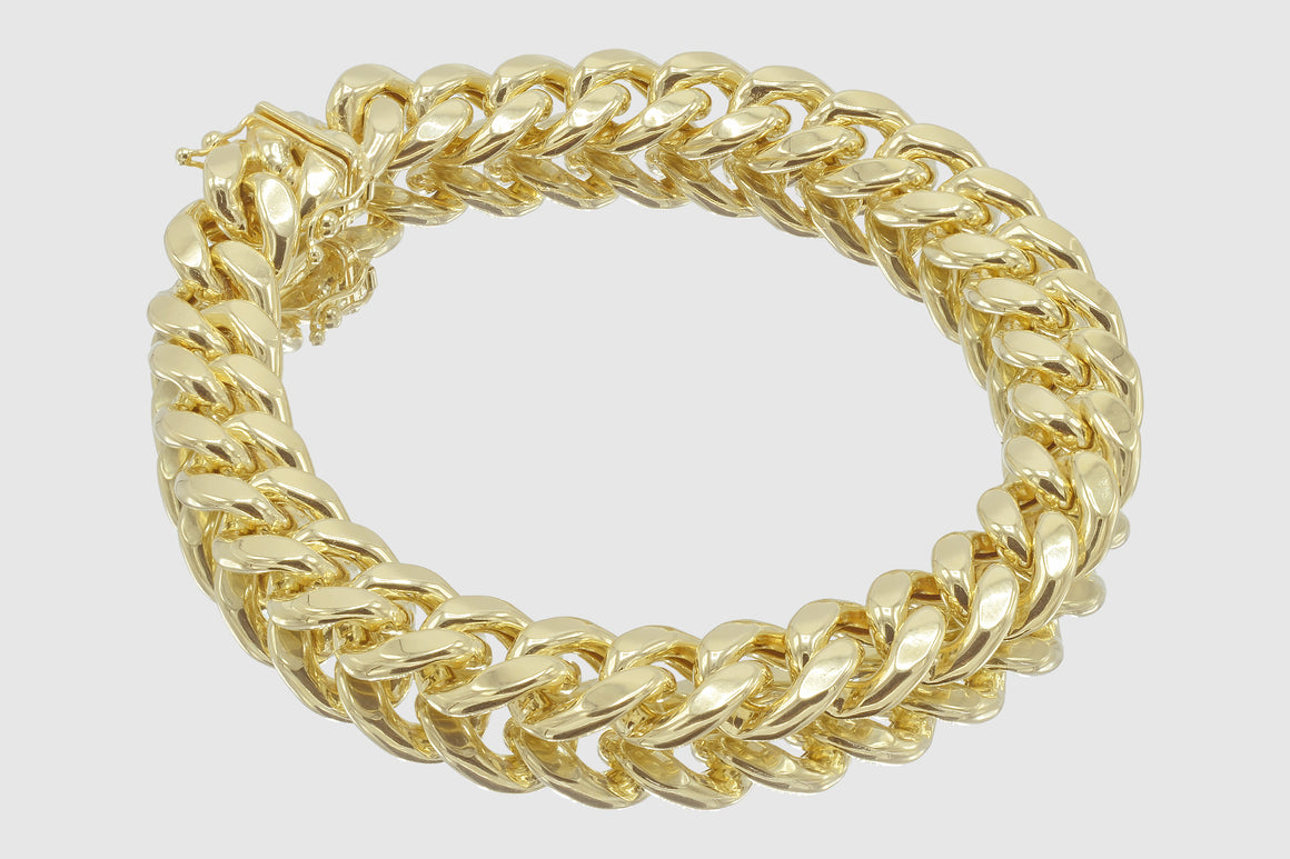 12mm 10K Miami Cuban Yellow Gold Bracelet