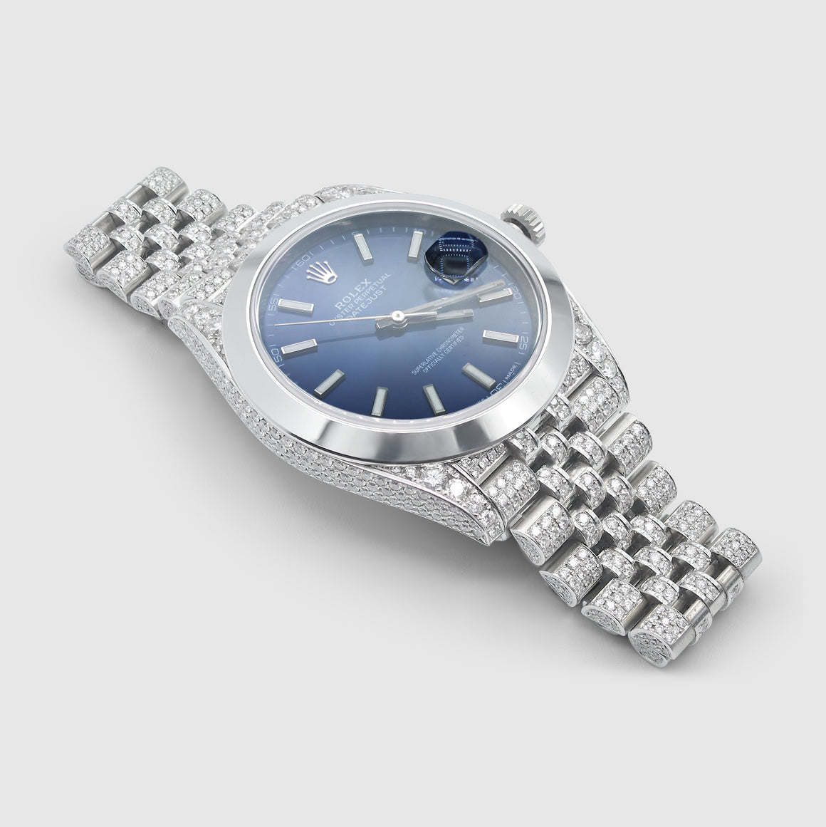 Iced out Diamond Rolex DateJust 41mm Stainless Steel Blue Dial Watch