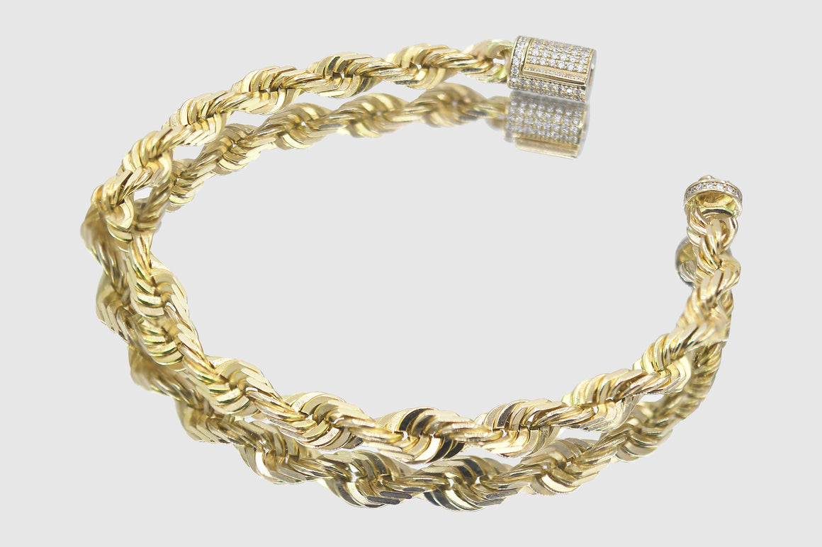 6mm 10k Solid Gold Rope Diamond Lock Bracelet