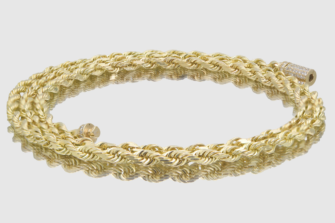 4mm 10k Solid Gold Rope Diamond Lock Necklace
