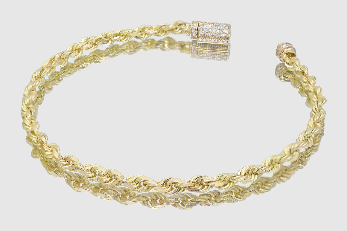 4mm 10k Solid Gold Rope Diamond Lock Bracelet