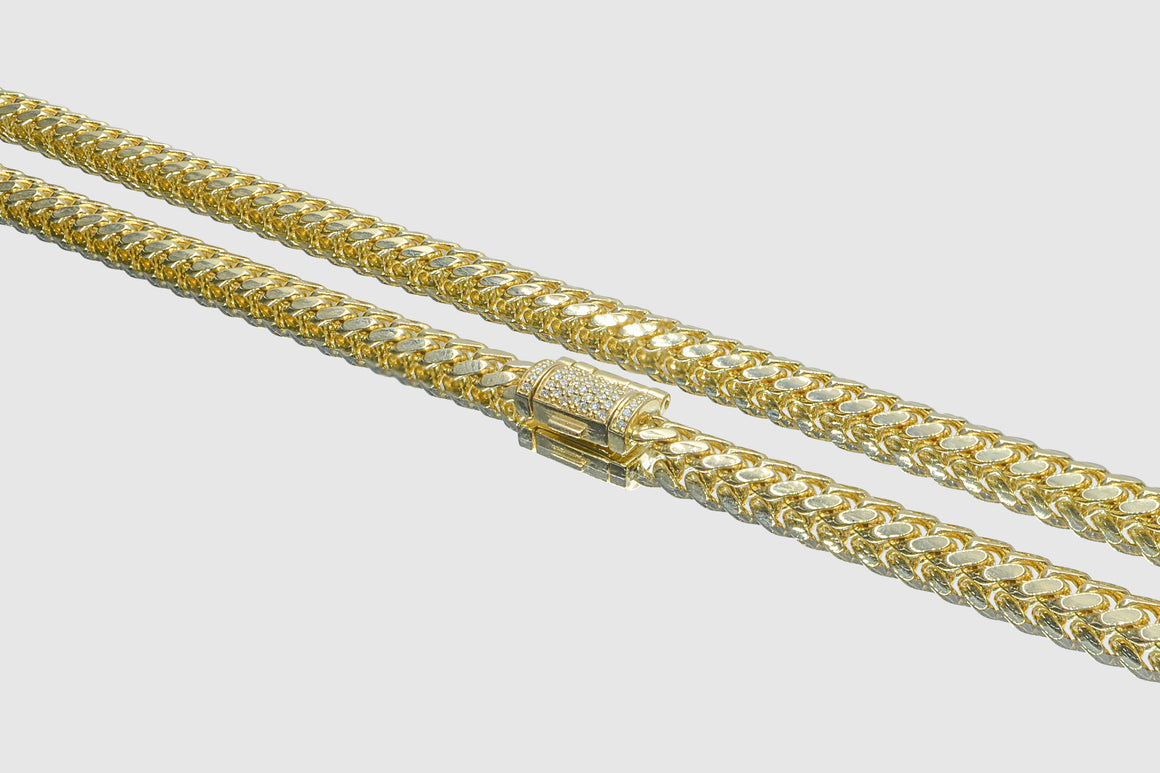 5mm Miami Cuban Diamond Necklace 14K Yellow Gold
