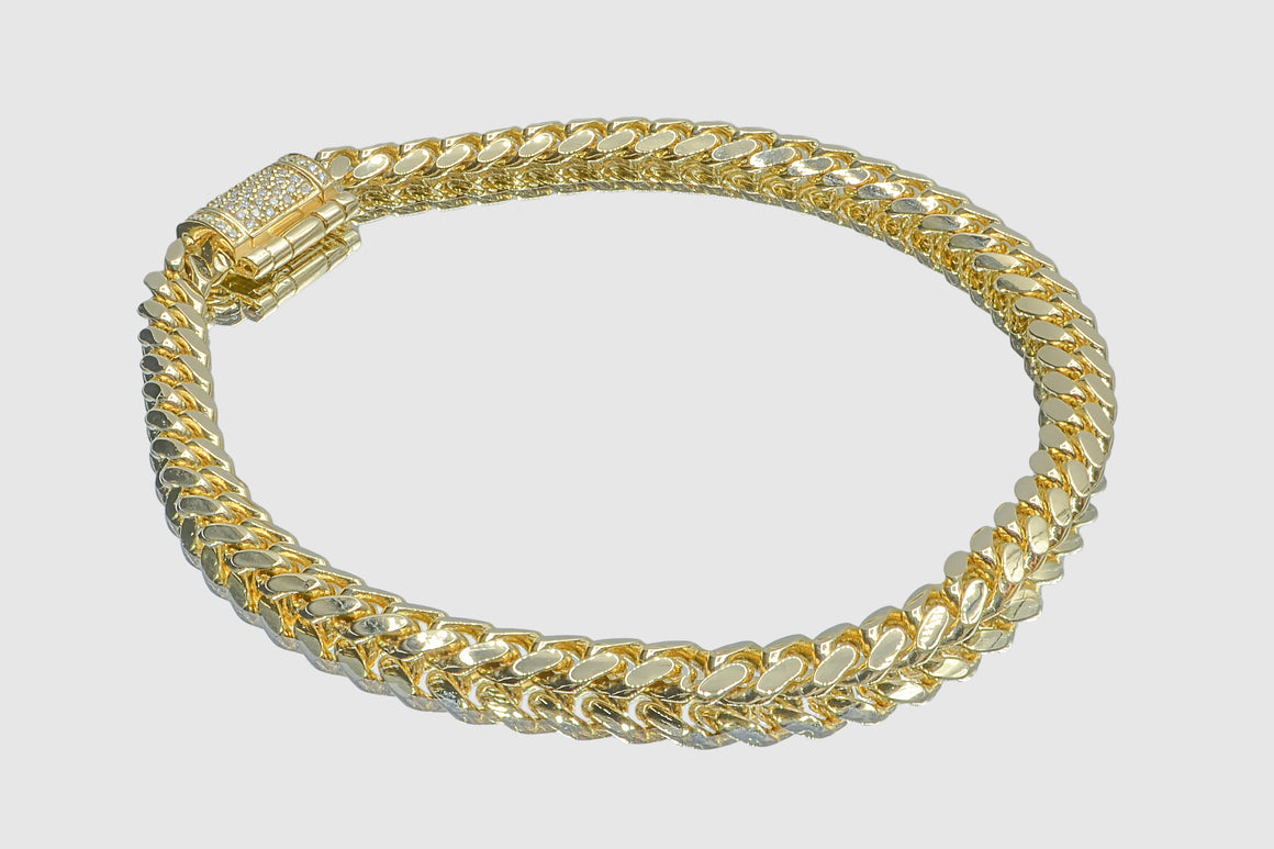 5mm 14k Solid Yellow Gold Miami Cuban Diamond Lock Bracelet