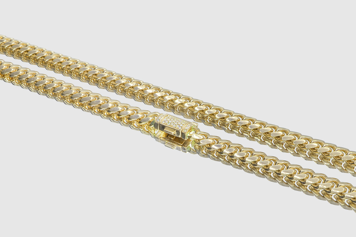 6mm Miami Cuban 14k Solid Gold Diamond Lock Necklace