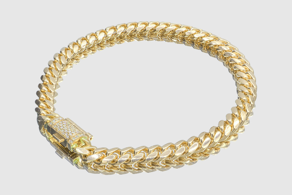 6mm 10k Solid Miami Cuban Yellow Gold Diamond Lock Bracelet