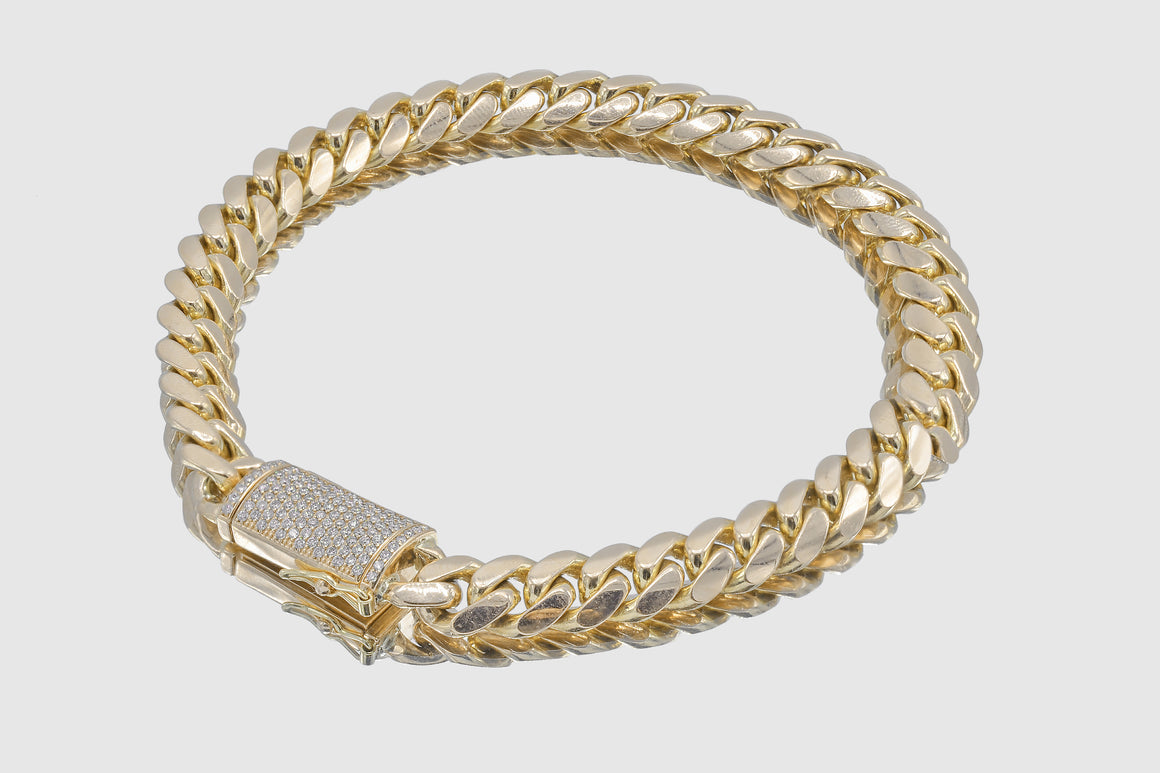 10mm 10k Solid Gold Miami Cuban Diamond Lock Bracelet