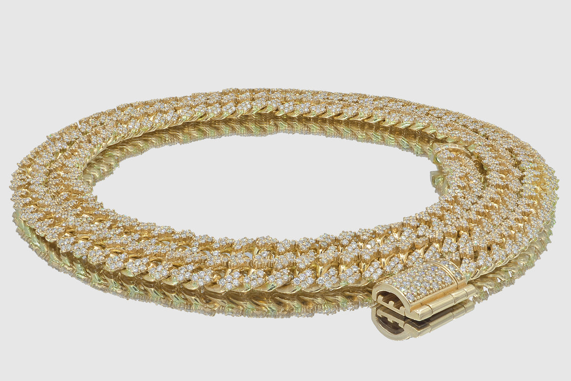 8mm Diamond 14k Solid Gold Miami Cuban Prong Set Necklace