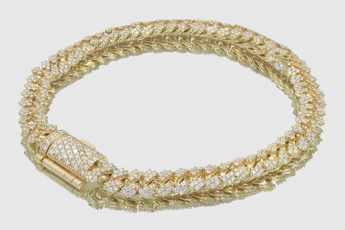 8mm Diamond 10k Solid Yellow Gold Miami Cuban Prong Set Bracelet