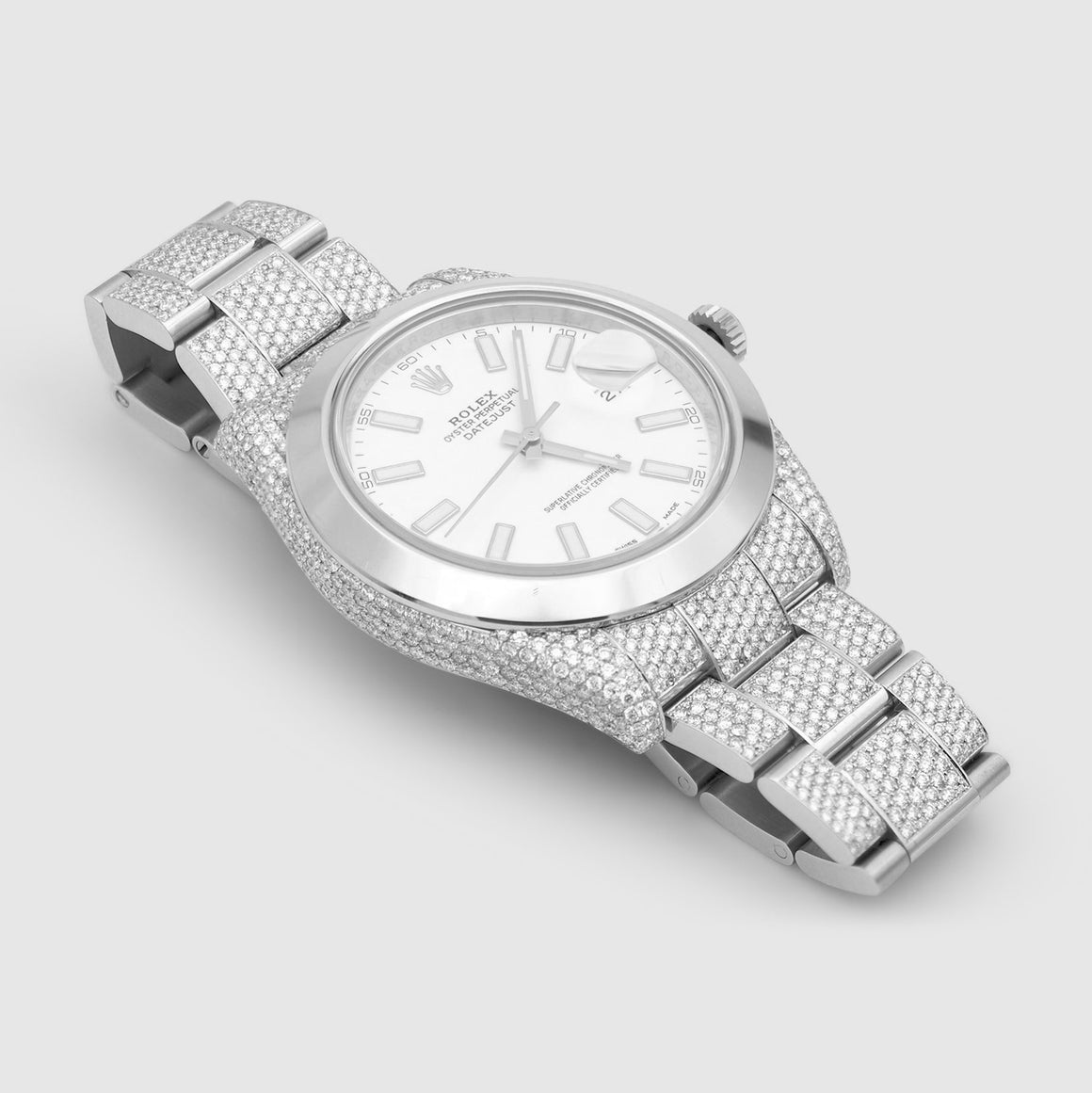 Iced Out DateJust II 41mm Stainless Steel White Dial Watch