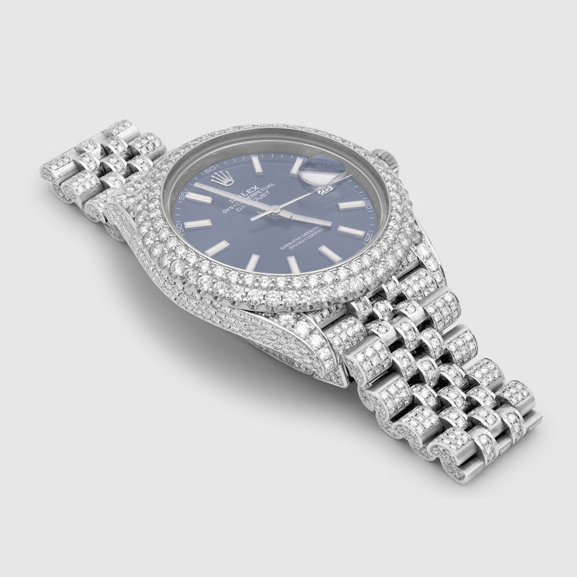 Iced Out Rolex DateJust 41mm Stainless Steel Blue Dial Watch