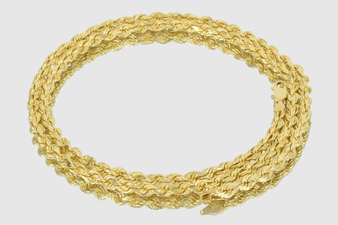 10k Rope Diamond Cut Solid Yellow Gold Necklace