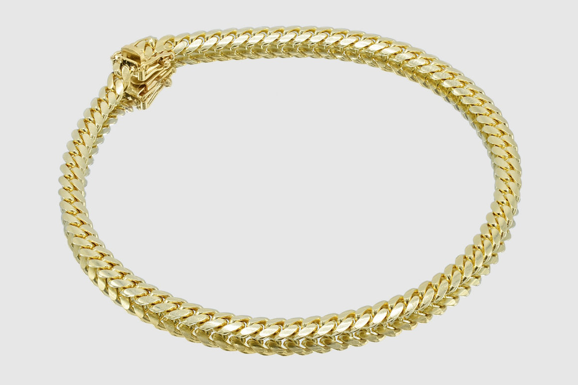 4mm Miami Cuban Bracelet 14K Solid Yellow Gold