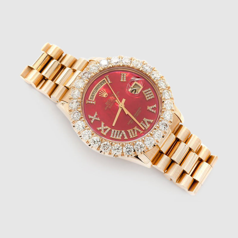 Diamond Rolex Presidential DayDate 36mm 18k Yellow Gold Red Dial Watch