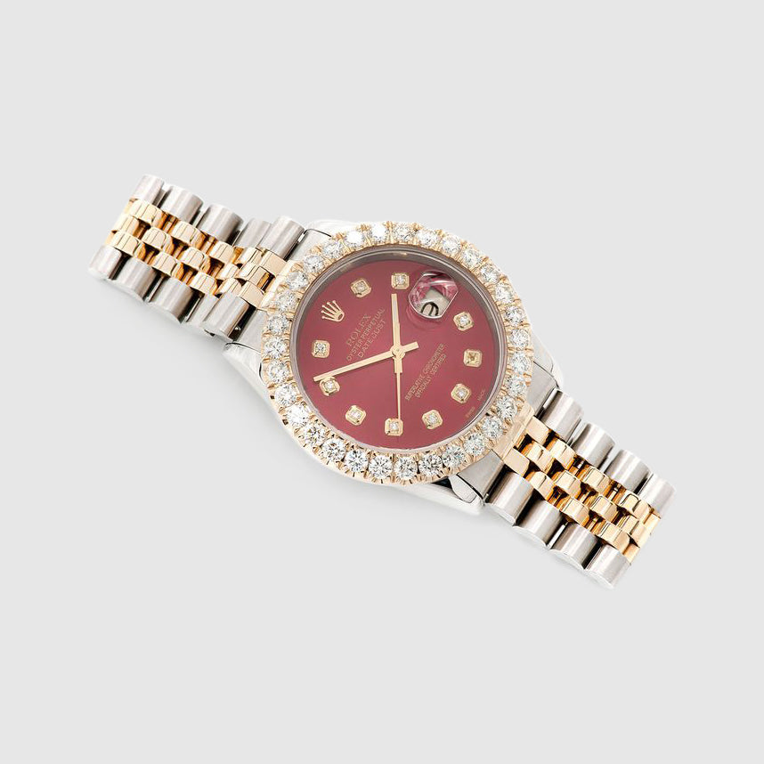 Diamond Rolex DateJust 36mm Two-Tone Red Dial Watch