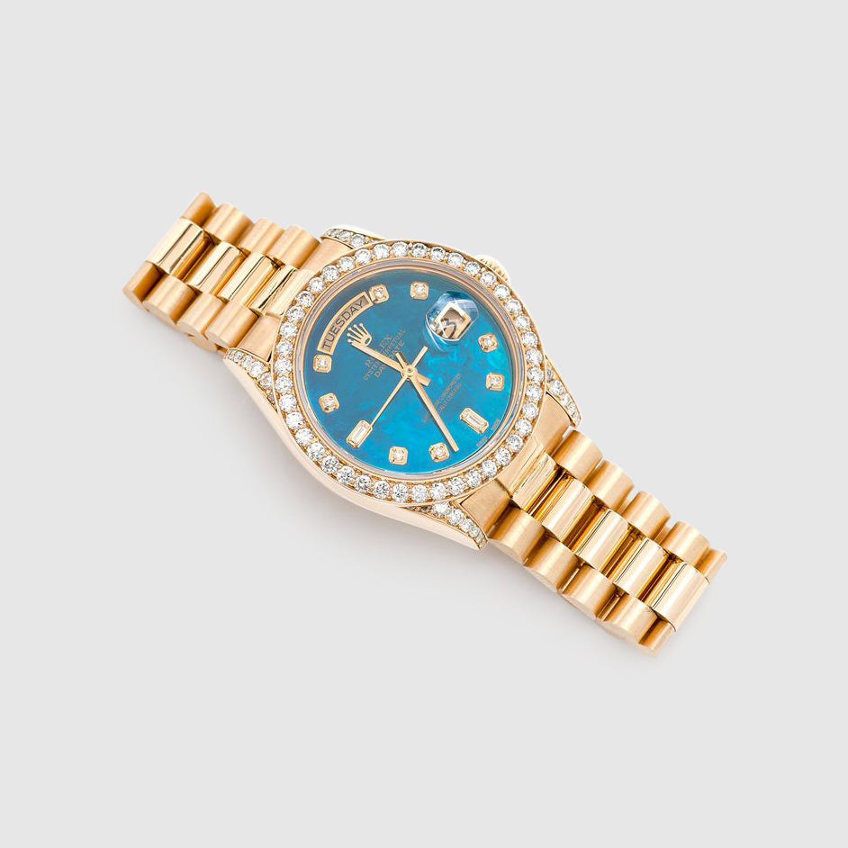 Diamond Rolex Presidential DayDate 36mm 18k Yellow Gold Turquoise Dial Watch