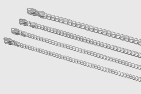 14k Cuban Curb Solid White Gold Necklace