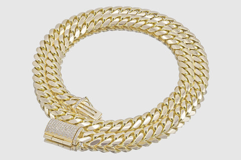 Miami Cuban Diamond Necklace 14K Yellow Gold