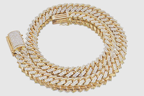 Miami Cuban Diamond Necklace 14K Gold