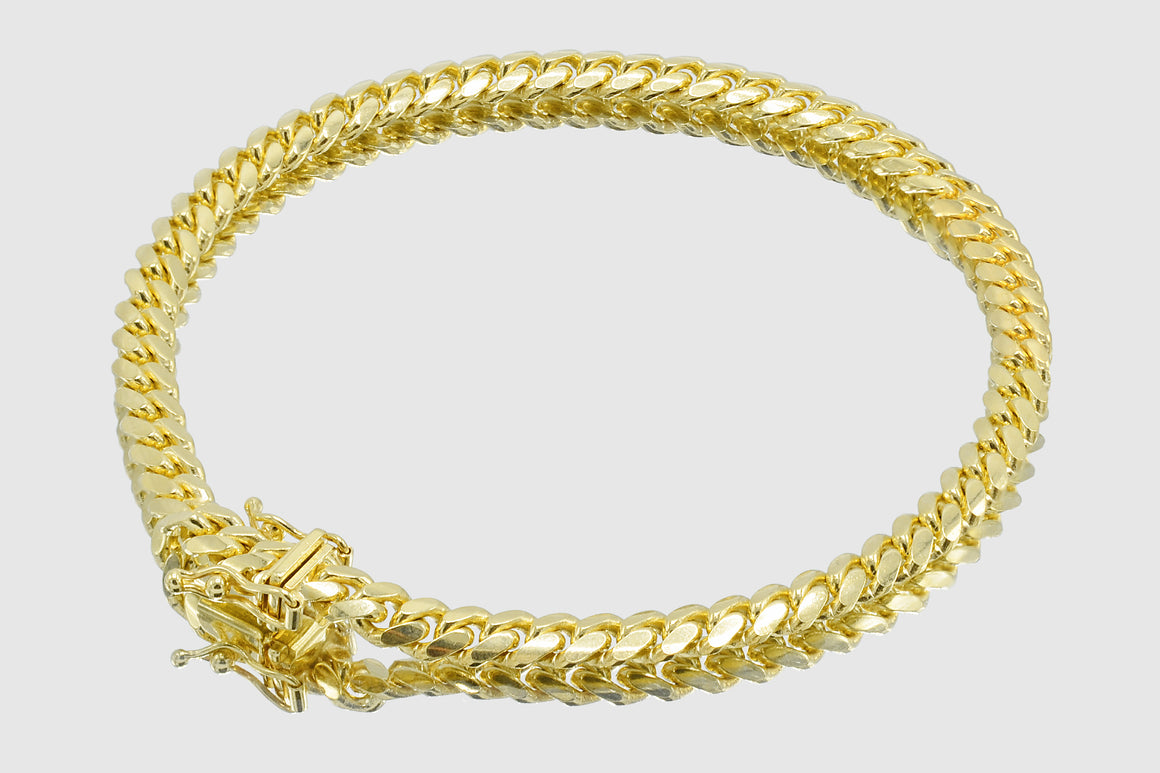 5mm Thick Miami Cuban 14k Solid Gold Bracelet