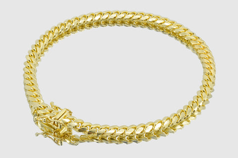 5mm Thick Miami Cuban Solid Gold Bracelet