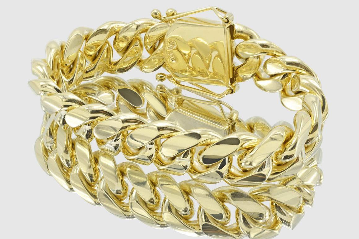 18mm Miami Cuban 18k Solid Gold Bracelet