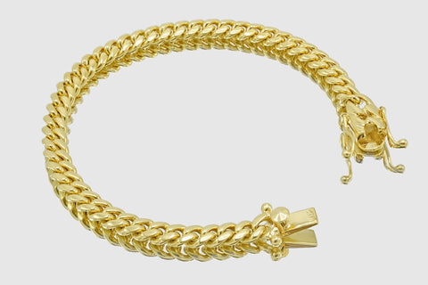 7mm Miami Cuban Bracelet 14K Solid Yellow Gold