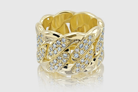 Miami Cuban Gold and Diamond Pave Ring