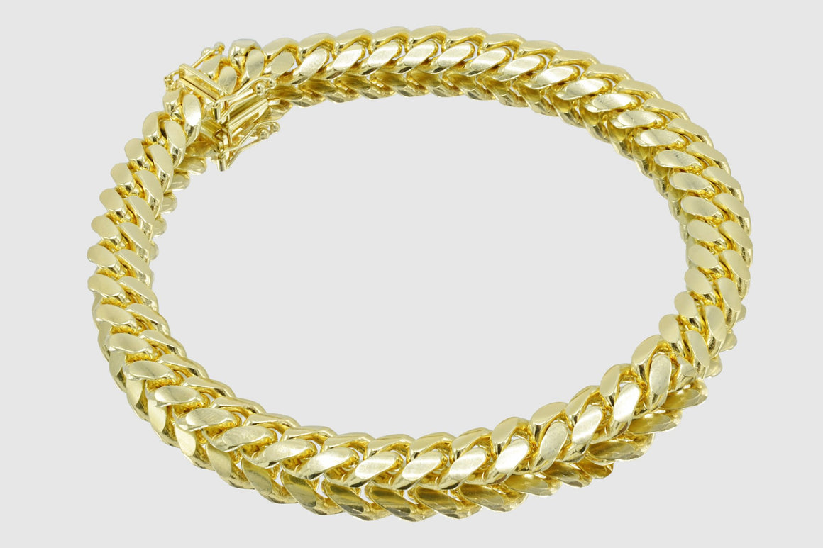8mm Miami Cuban Bracelet 14K Solid Yellow Gold