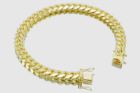 8mm Thick Miami Cuban Solid Gold Bracelet