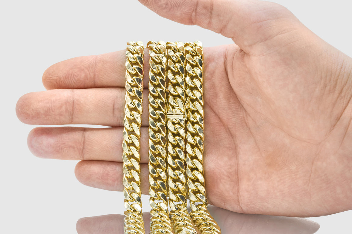 8mm Miami Cuban Chain 14K Yellow Gold