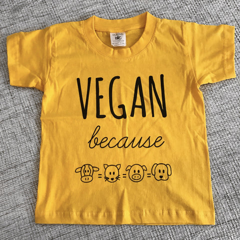 VEGAN BECAUSE Bright yellow Kids Tee (1-2 YRS)