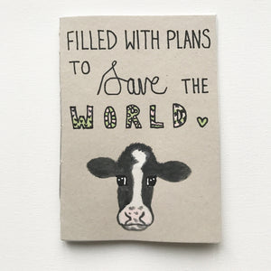FILLED WITH PLANS TO SAVE THE WORLD Recycled Notebook Pink/Green