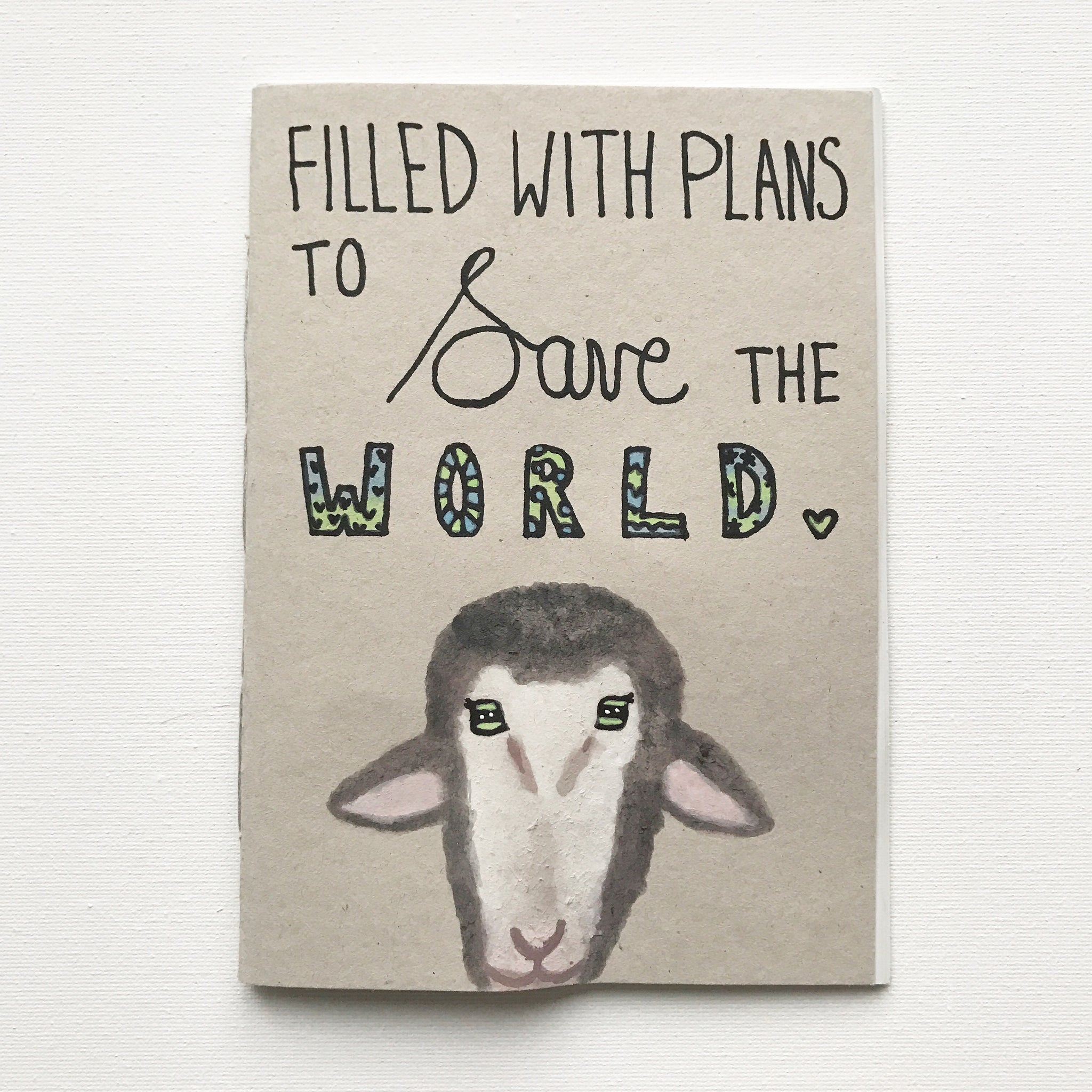 FILLED WITH PLANS TO SAVE THE WORLD Recycled Notebook Sheep